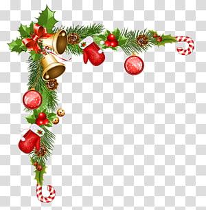 Borda de cana e ings de Natal, enfeite de Natal Papai Noel, enfeites decorativos de Natal PNG clipart