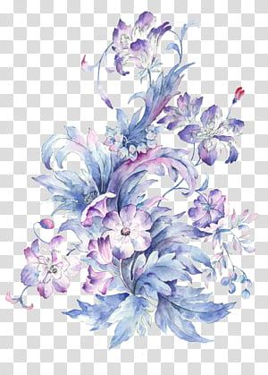 Pintura em aquarela Desenho, Pequena flor aquarela pintada à mão fresca, roxo e rosa flores pintura PNG clipart