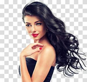 mulher sorridente, vestido preto sem alças, salão de beleza penteado dia spa coloração de cabelo, cabeleireiro PNG clipart