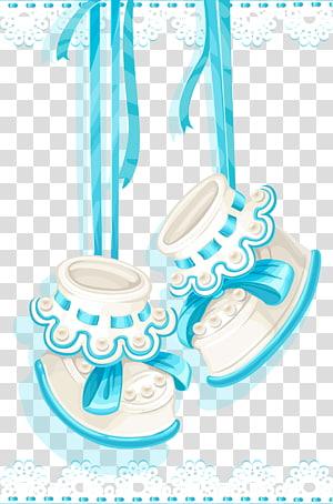 Livro de memória do primeiro ano do bebê infantil: lembrança e livro de recortes do bebê Chá de bebê Desenhos animados, sapatos de bebê, par de botas brancas e azuis com detalhes em arco PNG clipart