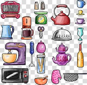 Utensílios de cozinha Forno de microondas Panelas e assadores Escorredor, Utensílios de cozinha pintados à mão png