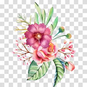 Convite de casamento de flores em aquarela Pintura em aquarela, pintados à mão em aquarela flores e padrões decorativos de flores, ilustração de flores rosa rosa PNG clipart