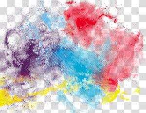 pintura em aquarela, tinta colorida, vermelho, azul, roxo e amarelo pintura abstrata PNG clipart