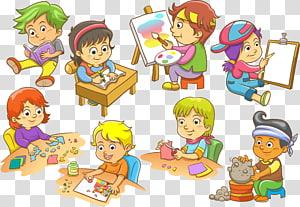 vários adesivos de crianças, ilustração euclidiana infantil, crianças na escola PNG clipart