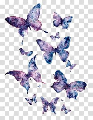 borboletas roxas e pretas, borboleta papel aquarela pintura arte, borboleta roxa png