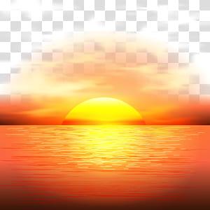 Sunset Adobe Illustrator, pôr do sol, corpo de água calmo durante a hora de ouro PNG clipart