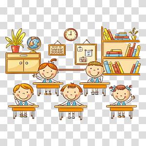 crianças na ilustração de sala de aula, lição de sala de aula dos desenhos animados do aluno, alunos da escola PNG clipart