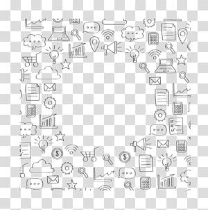 ilustração de lote de produtos variados, Fundo de Marketing Digital PNG clipart