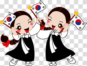 duas mulher vestida de preto segurando a ilustração da bandeira da Coréia, bandeira da Coreia do Sul dia da independência, Coreia do Sul menina PNG clipart