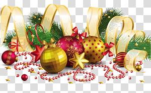 Decoração de Natal Enfeite de Natal, decoração de Natal com laço de ouro, ilustração de enfeite de Natal png