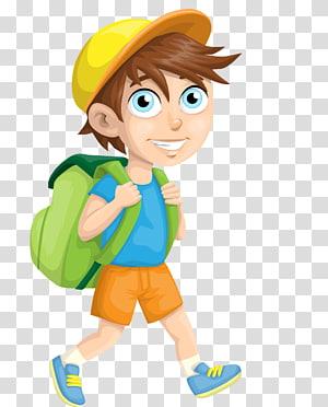 menino ruivo vestindo camisa azul e mochila ilustração, aluno de escola, menino de escola PNG clipart