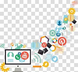 ilustração de monitor de computador branco, marketing de mídia social marketing de conteúdo de marketing digital, computador desenhado à mão ícones PNG clipart