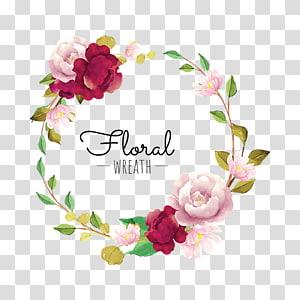 ilustração de grinalda floral branco e vermelho, grinalda de flores euclidean, grinalda da flor PNG clipart