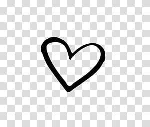 Marca preto e branco coração, mão desenhada em forma de coração, ilustração de forma de coração PNG clipart