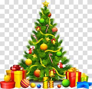 Árvore de Natal Enfeite de Natal, grande árvore de Natal com presentes, ilustração multicolorida da árvore de Natal png