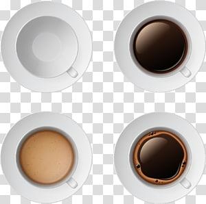 quatro canecas brancas com ilustração de pires, xícara de café Espresso Cream Cafe, xícara de café branca e café png