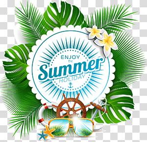 aproveite o texto das férias de verão, folha, verão fresco png