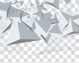Cone de geometria euclidiana de triângulo, material de fundo abstrato geométrico de cone branco, triângulos cinza PNG clipart