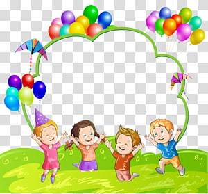 Balão de criança, crianças e balões, quatro crianças pulando ilustração png