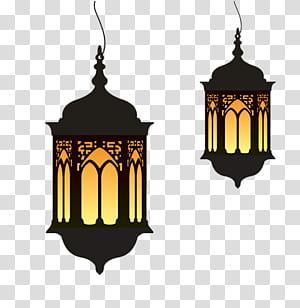 Ramadan Eid al-Fitr Lantern, luzes dos desenhos animados do Ramadã, duas lâmpadas pendentes pretas PNG clipart