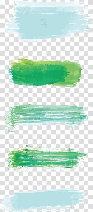 Pintura em aquarela Pincel de tinta, pincéis de aquarela, ilustração de tinta verde e verde-azulado PNG clipart