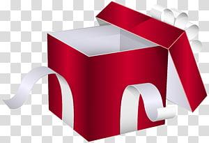 ilustração de caixa de presente vermelha e branca, caixa de presente, caixa de presente vermelha aberta PNG clipart