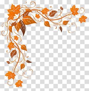 Cor da folha de outono, decoração de outono, quadro de folhas de laranja PNG clipart