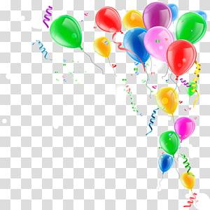 pensionista do balão da cor sortida, confete do balão do brinquedo, decoração do balão do balão da cor PNG clipart