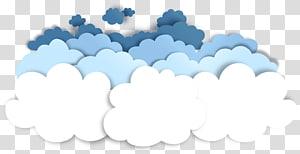 Adesivo de nuvem de papercutting, efeito de corte de papel, nuvens padrão decorativo, adesivo branco, azul-petróleo e nuvens azuis png
