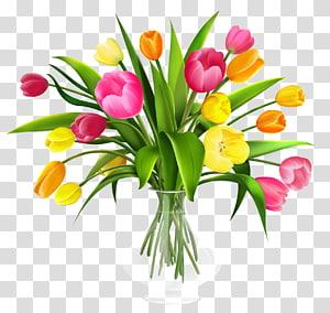 Buquê de flores tulipa, vaso com tulipas, ilustração de arranjo de tulipas amarelas e rosa PNG clipart