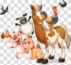 Farm Live Illustration, animais dos desenhos animados, ilustração de animais PNG clipart