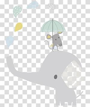 Ilustração infantil elefante Hathi Jr., elefante bebê dos desenhos animados, rato em cima de elefante segurando ilustração de guarda-chuva png