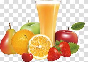 ilustração clara de copo e frutas, suco de laranja suco de maçã frutas, suco de frutas frescas png