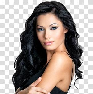 mulher vestindo blusa de espaguete preta, integrações artificiais de cabelo Cabelo preto Coloração de cabelo Penteado, spa de cabelo PNG clipart