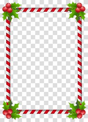 moldura vermelha e branca, quadros de árvore de Natal do Papai Noel, borda da página png