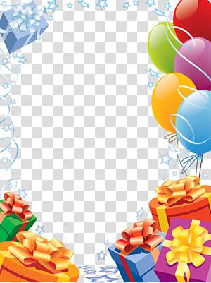 Cartão de feliz aniversário!moldura de cartão, aniversário molduras, balões e presentes ilustração png