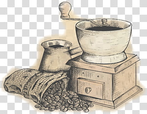 ilustração de moedor de café, café chá café Caffxe8 mocha pote Moka, moagem Vintage png