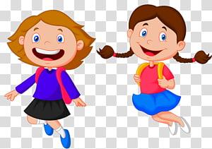 duas meninas pulando ilustração, estudante escola criança Cartoon, crianças em idade escolar PNG clipart