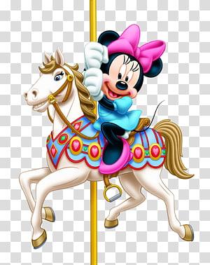 Parque de diversões Passeio de diversões Adesivo Vertebrado, Minnie Mouse, Minnie Mouse montando cavalo de carrossel PNG clipart