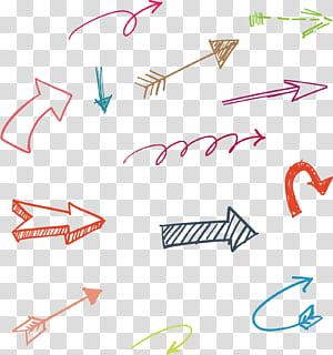 seta desenhada mão, arte de flechas sortidas PNG clipart