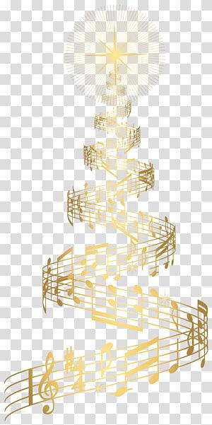 notas de música formando uma árvore de Natal, enfeites de árvore de Natal, Golden Music Christmas Tree PNG clipart