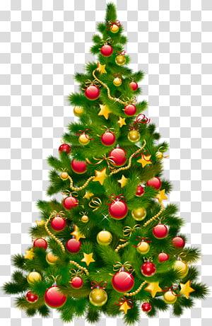 árvore de Natal verde e vermelha, enfeites de natal, enfeites de natal, grande árvore de natal com enfeites PNG clipart