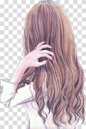 mulher de cabelo castanho segurando sua ilustração de cabelo, desenho Art Girl Manga Illustration, cabelo de senhora PNG clipart
