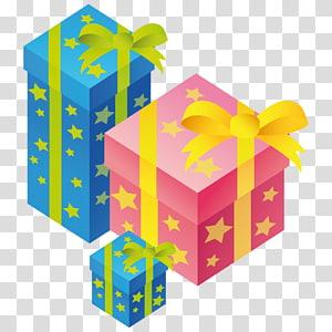 ilustração de caixa de presente azul e rosa, amarelo de presente de caixa, presentes PNG clipart