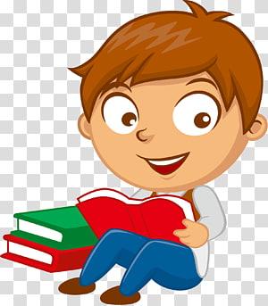 ilustração de livro de leitura menino PNG clipart