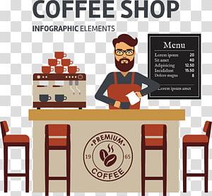 Ilustração de elementos de infográfico de café, café Cafe Espresso Barista, loja de café png