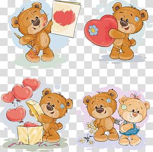 Pinturas de urso pardo, ilustração de presente de ursinho de pelúcia, urso de pelúcia pintados à mão PNG clipart