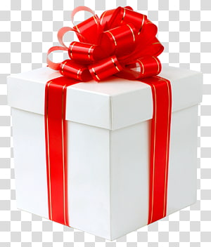 Presente, caixa de presente branca com laço vermelho, ilustração de caixa de presente vermelha e branca png