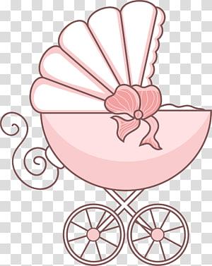 ilustração de carrinho de berço rosa, carrinho de bebê dos desenhos animados PNG clipart