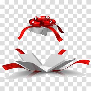Caixa de presente de Natal, abra a caixa de presente, fita de presente vermelha PNG clipart